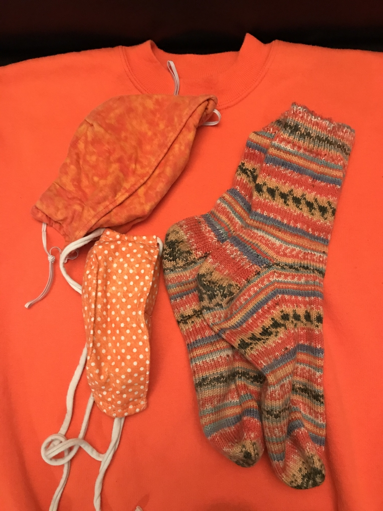 Orange choices:  sweatshirt, 2 masks and socks.  Shirts must be in the wash still...