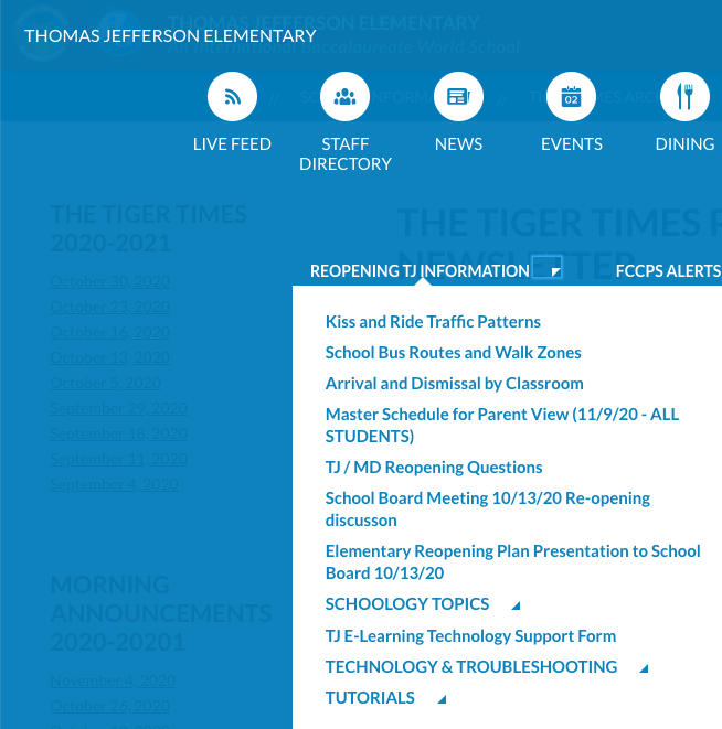 Screen capture of the TJ website which includes the  Reopening  TJ Information menu items