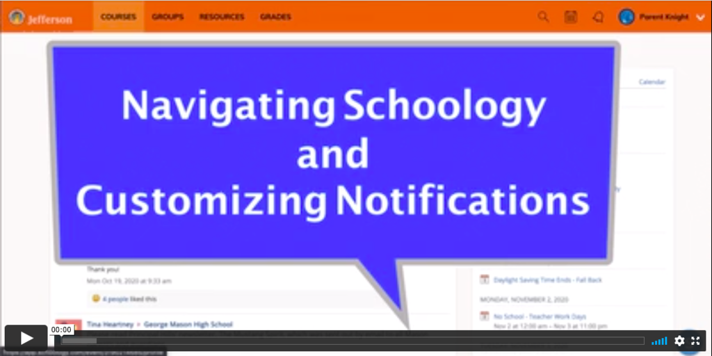 Screen capture of a Vimeo created by Mr. Knight about Customizing Notifications in Schoology