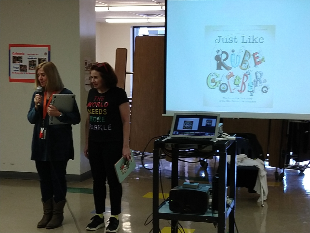 Mrs. Schimmoller introduces her sister Sarah Aronson to the third grade