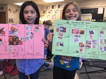 Two students hold up their menu with pictures and prices displayed in columns