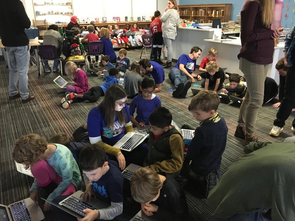Second grade students get comfortable with their coding.