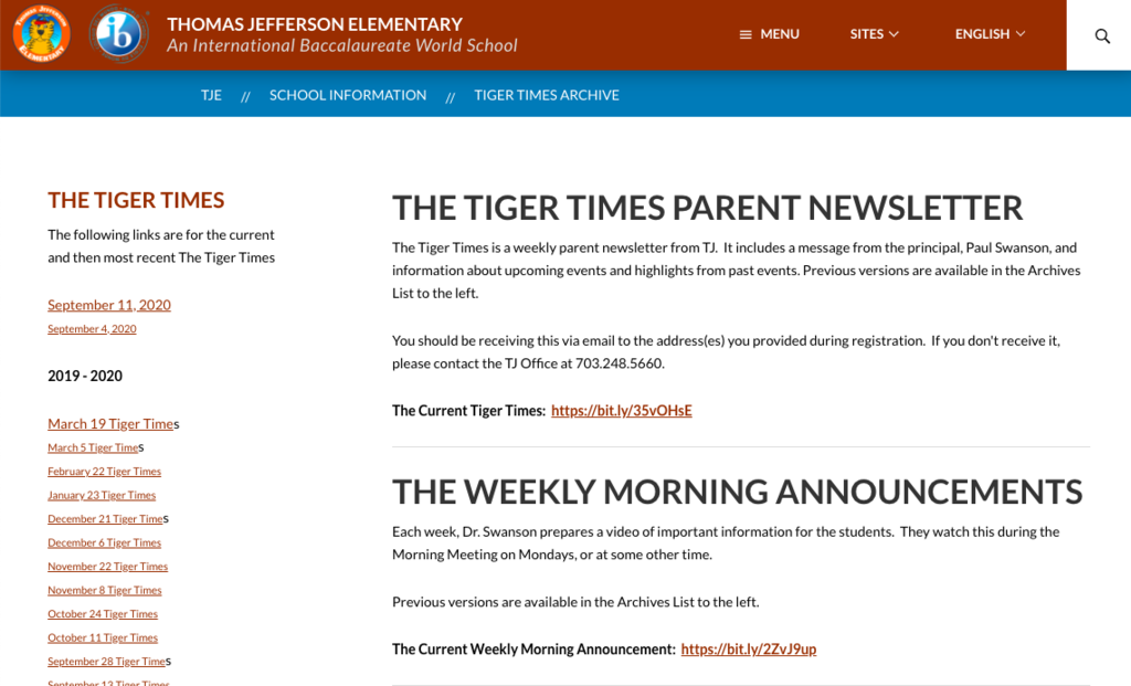 Screenshot of the Tiger Times page on the TJ website